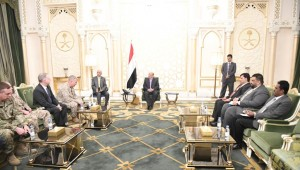 Hadi blames Iran for Marib attacks in meeting with U.S. military chief