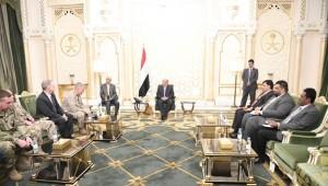 Hadi blames Iran for Marib attacks in meeting with U.S. military chief
