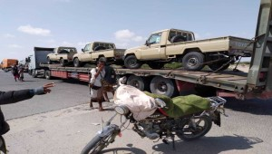 Presidential Protection Brigade trucks, ambulances reach Abyan's Shaqra en route to Aden