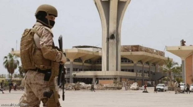 Two batches of Saudi soldiers arrive at Aden International Airport