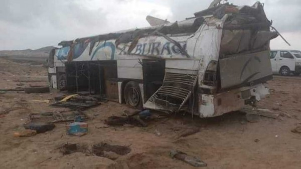 Six people killed and 19 injured in rollover bus accident in Shabwah