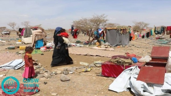 Heavy rains destroy tents of hundreds of displaced families in Marib